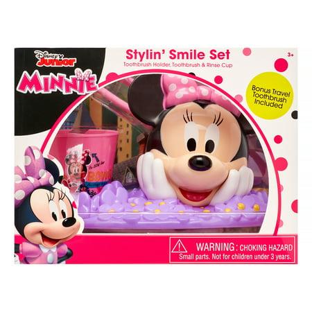 Disney Junior Minnie 3-Piece Stylin' Smile Toothbrush and Holder Set