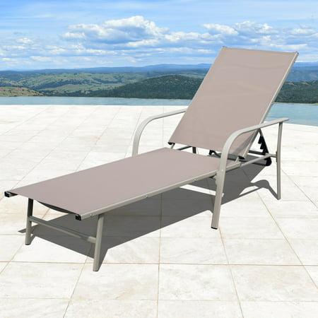 Fabric Sling Patio Furniture (Corvus  Antonio Sling Fabric Adjustable Outdoor Chaise Lounge)