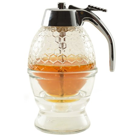 Honey Dispenser - Norpro Premium Honey Syrup Dispenser Pot Jar 1 Cup Glass Bee Hive Trigger stand