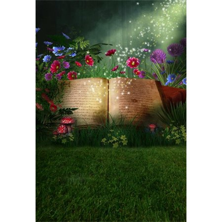 HelloDecor Polyster 5x7ft Magic Book Background Fantastic Forest Photography Backdrop Dreamy Woods Meadow Flowers Mushroom Kid Girl Child Baby Portrait Photoshoot Studio Props Video Drape
