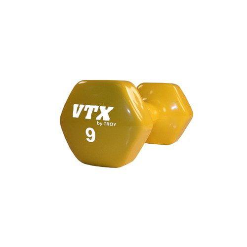 Troy Barbell VTX 9 lbs Vinyl Dumbbell in Yellow