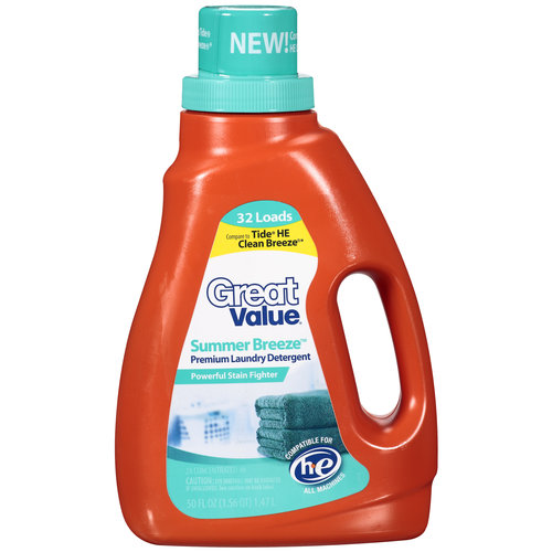 Great Value 2X Concentrated Summer Breeze Liquid Laundry Detergent, 50 oz
