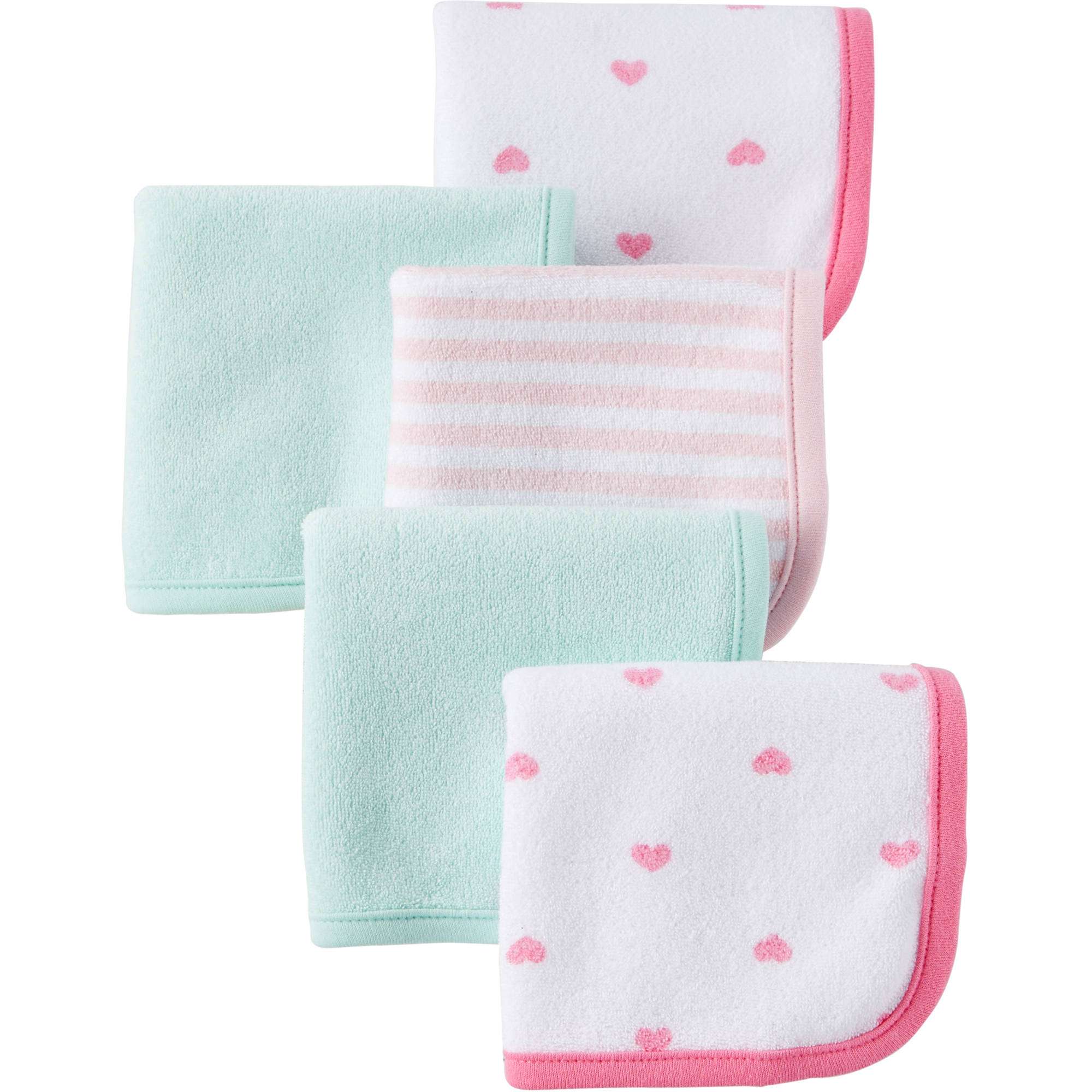 Child Of Mine by Carter's Newborn Baby Girl Washcloths, 5-Pack