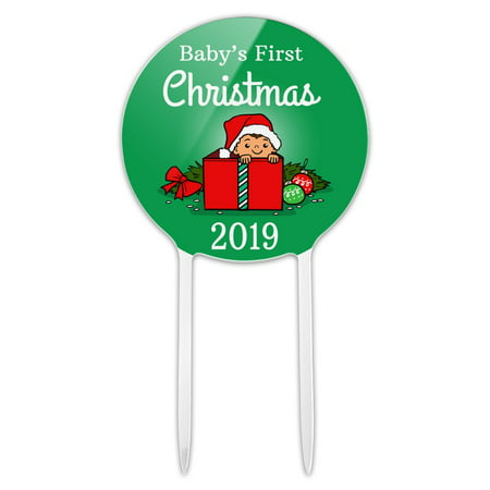 Acrylic Baby's First Christmas 2019 Cake Topper Party Decoration for Wedding Anniversary Birthday Graduation ()