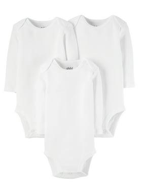 Child Of Mine By Carter's Long Sleeve White Bodysuits, 3Pk (Baby Boys Or Baby Girls, Unisex)