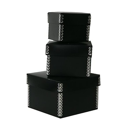 - JAM Paper Nesting Box Set, Small, Medium & Large, Black Plastic, 3/pack