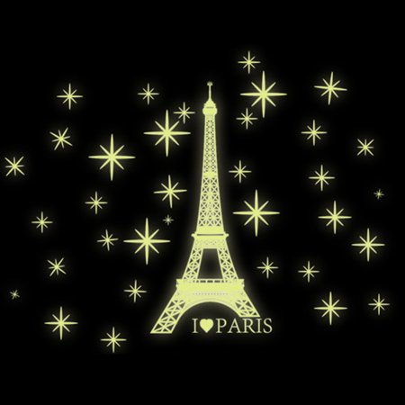 OHSAY USA DIY Wall Sticker Paris Towel Fluorescent Wall Decal Glow in the Dark Wall Decoration for Bedroom Living Room Women Girls