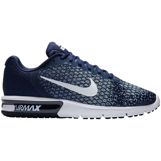 Nike Men's Air Max Sequent 2 Running Shoes - Blue/White - 13.0