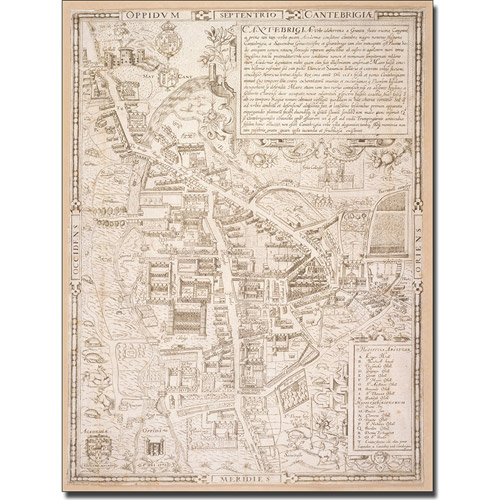 Trademark Art 'Map of Cambridge, 1574' Canvas Art by Richard Lyne