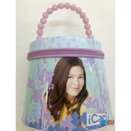 - iCarly Round Tote Carry All Tin Box Lunchbox Lunch Box with Zipper - Purple