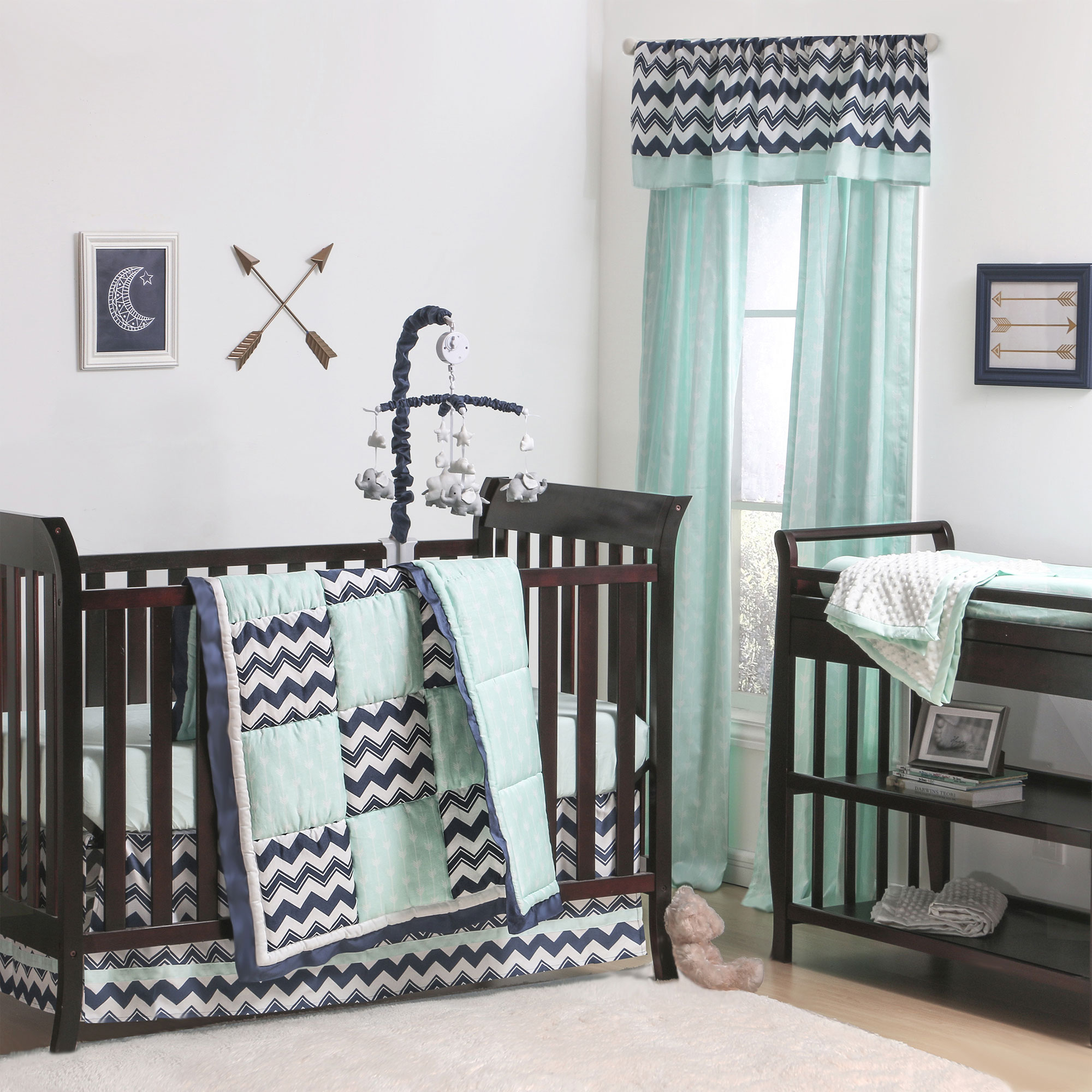 The Peanut Shell 4 Piece Baby Crib Bedding Set - Navy Blue Zig Zag Geometric and Mint Green Arrow Print - 100% Cotton Quilt, Dust Ruffle, Fitted Sheet, and Mobile
