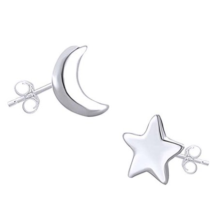 14K White Gold Over Sterling Silver Asymmetric Moon And Star Stud Earrings