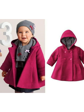 4647438b37cbf Product Image New Baby Toddler Girl Autumn Winter Horn Button Hooded Pea Coat  Outerwear Jacket