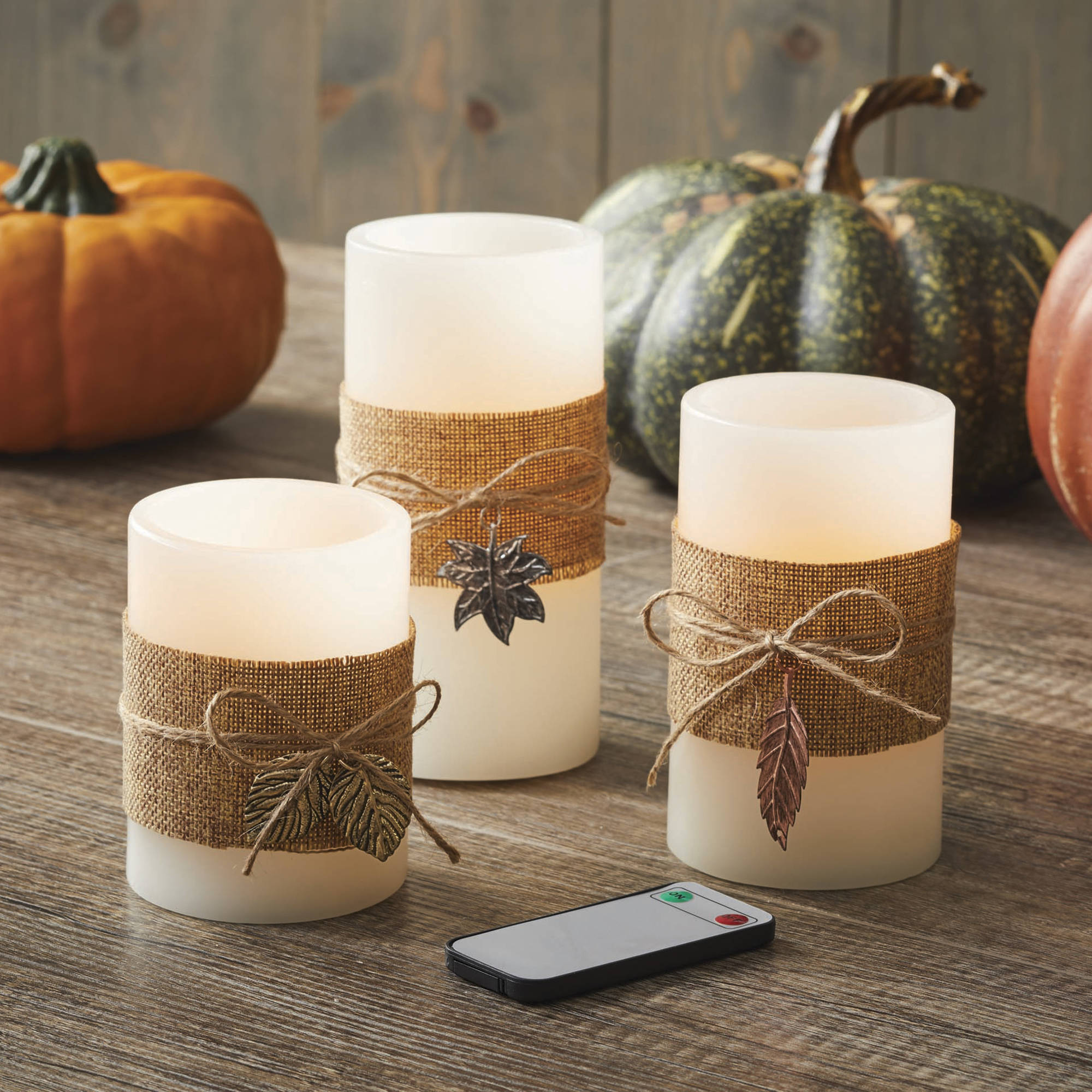 Better Homes and Gardens LED Candle 3-Pack, Harvest Burlap