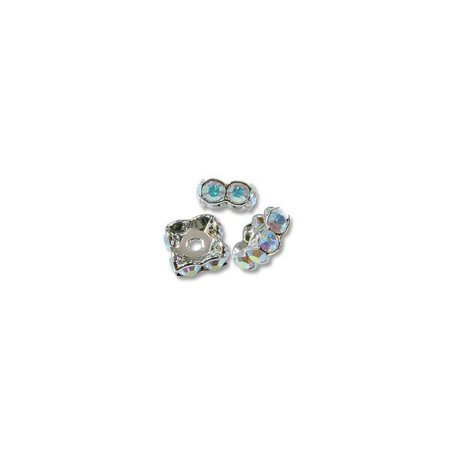 - Swarovski Rondelle Square Bead 6mm Crystal AB Sterling Plated (Package of 1)