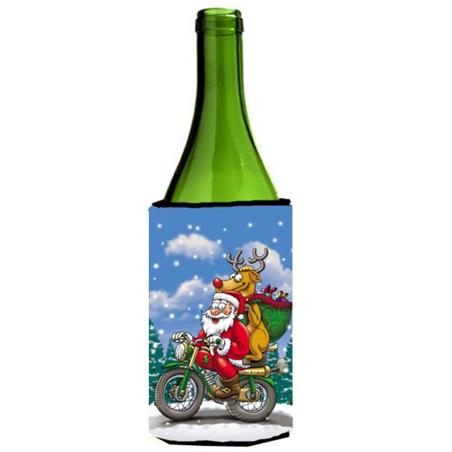 Christmas Santa Claus on a Motorcycle Wine Bottle Can cooler Hugger