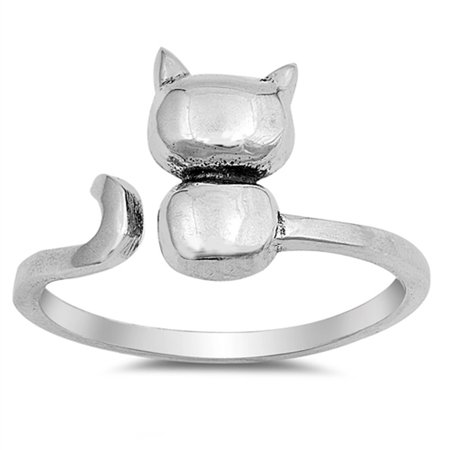 Open Cat Kitten Pet Animal Cute Ring New .925 Sterling Silver Band Size