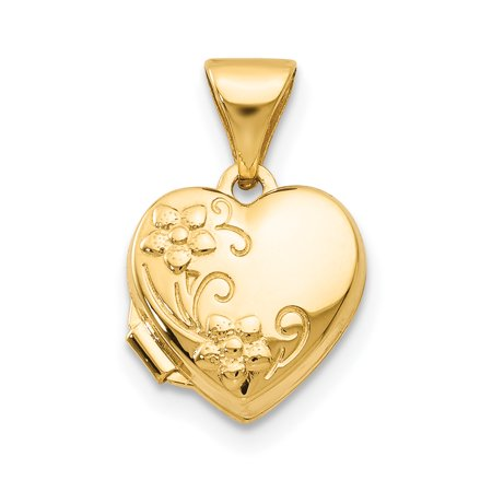 14k Yellow Gold Floral Heart Photo Pendant Charm Locket Chain Necklace That Holds Pictures Gifts For Women For Her mothers day gifts mom wife daughter