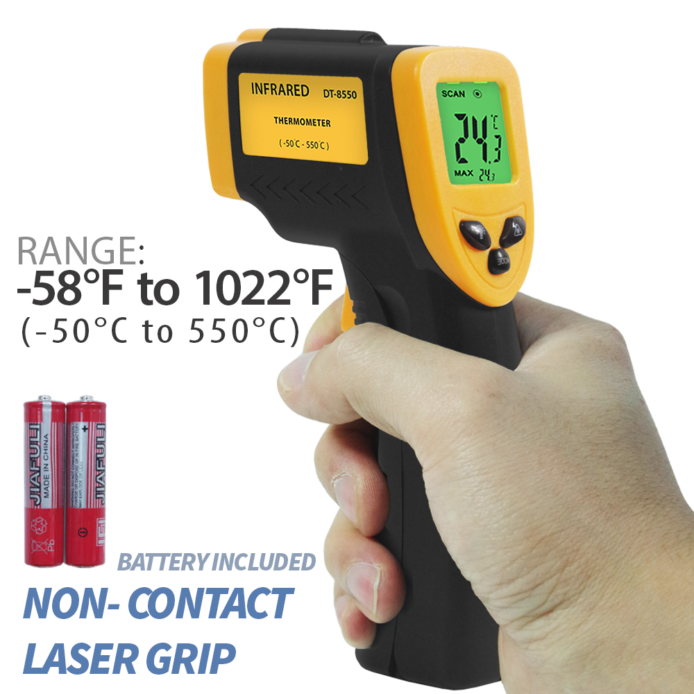 Loadstone Studio -58℉ - 1022℉ (-50℃ - 550℃) Non-Contact Infrared Thermometer Temperature Gun with Precision Laser Technology Industrial Automotive Home , WMLS2418