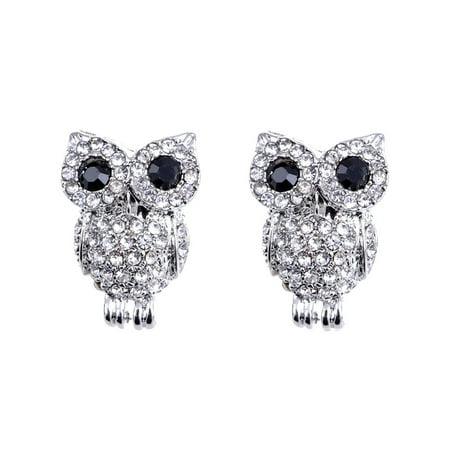 Bling Cute Skinny Standing Jet Eye Owl Clear Crystal Rhinestone Stud Earrings