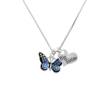Crystal Heart Bag - Silvertone Large Blue Butterfly with 6 AB Crystals Big Sister Heart Necklace