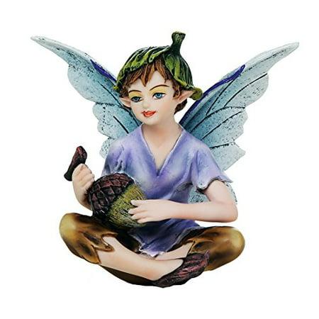 Fairy Garden Flower Boy Fairy with Acorn Decorative Mini Garden of Enchantment Figurine 3 Inch