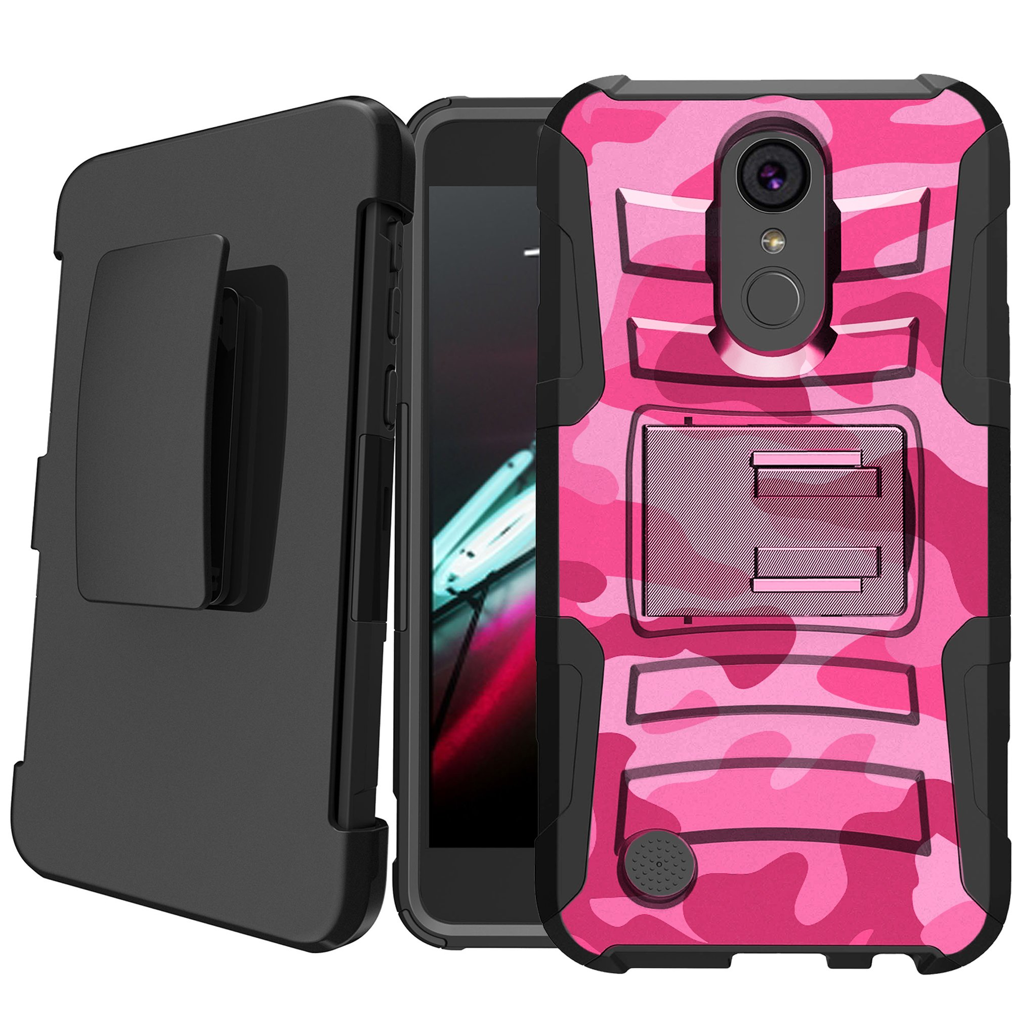LG Aristo | LG Rebel 2 | LG Phoenix 3 Holster Case [Camo Case][Camouflage Phone Case Series] w/ Built-In Kickstand + Bonus Holster - Nature Camo