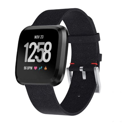 Versa Lite Wrist Band, 1PC Woemen Fabric Replacement Watch Band Wrist Straps for Fitbit Versa Lite (Black) ()