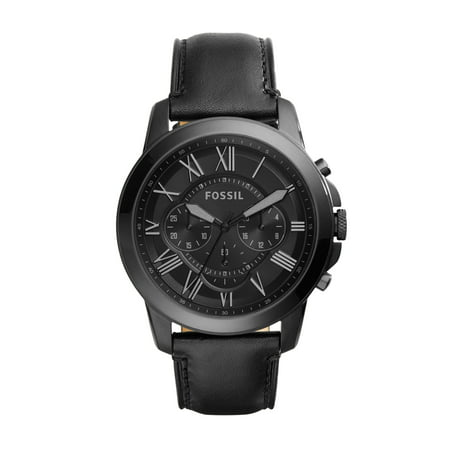 Men's Grant Chronograph Black Leather Watch (Style: FS5132IE) ()