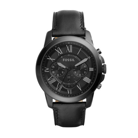 Men's Grant Chronograph Black Leather Watch (Style: FS5132IE)