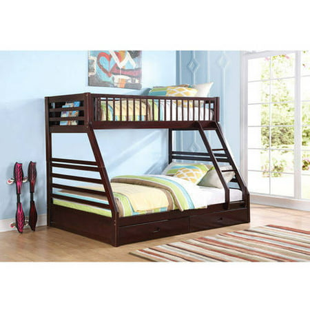 ACME Furniture Jason Twin Over Queen Wood Bunk Bed, Espresso ...