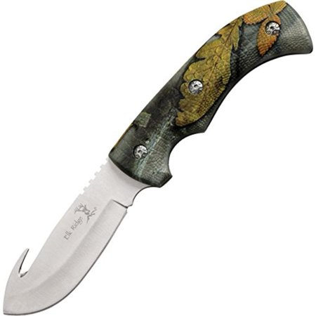 - Outdoors Fixed Blade Knife - 8.75-in Overall, 3.5-in Satin Finish Stainless Steel Blade, Full Tang Construction, Camo Coated Rubber Handle,.., By Elk Ridge thumbnail