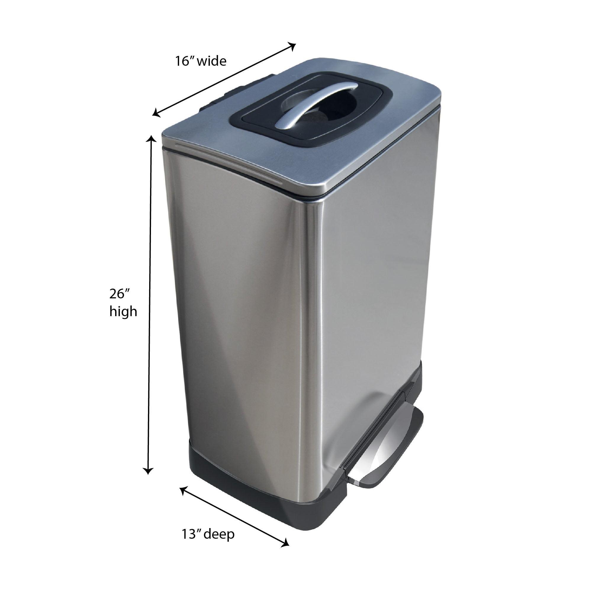 Household Essentials 40l Krusher Stainless Steel Manual Trash Compactor Trash Can Walmart Com Walmart Com