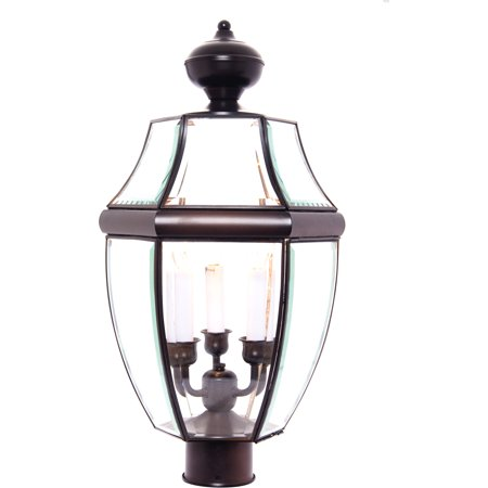 Maxim Lighting South Park - Three Light Post Mount, Burnished Finish - Clear Glass