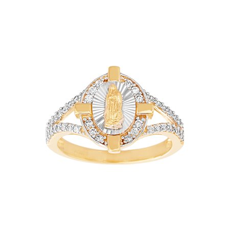 - Cubic Zirconia Virgin Mary Split Ring In Two Tone Over Sterling Silver