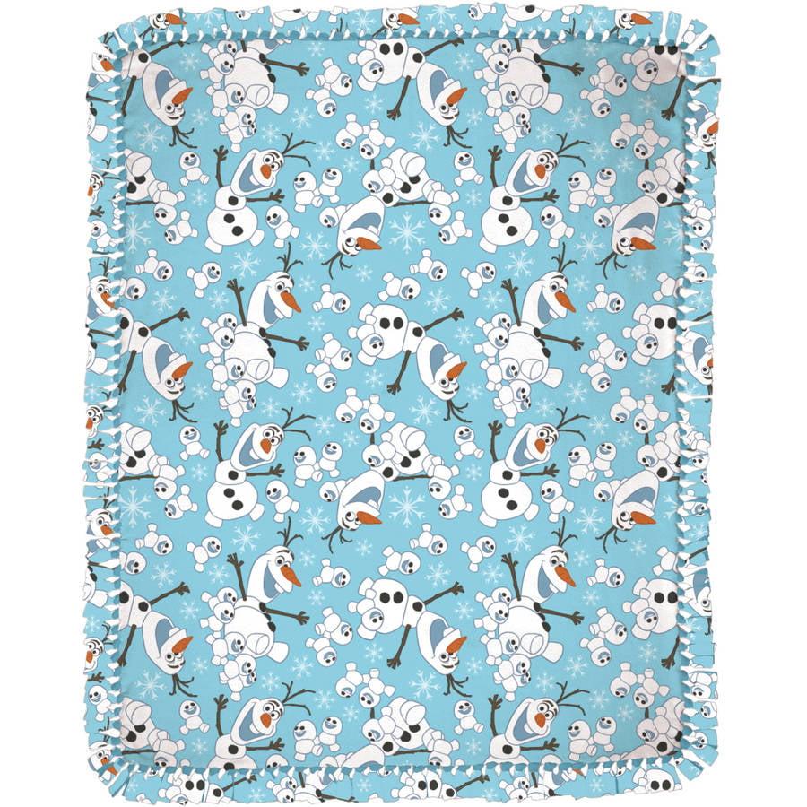 "Disney Olaf Snowman Toss Micro Fleece No-Sew Throw Kit, Blue, 48"" Width"