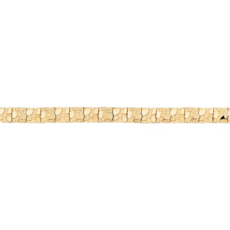 9.5mm 14k Yellow Gold Nugget Link Bracelet, 8 Inch