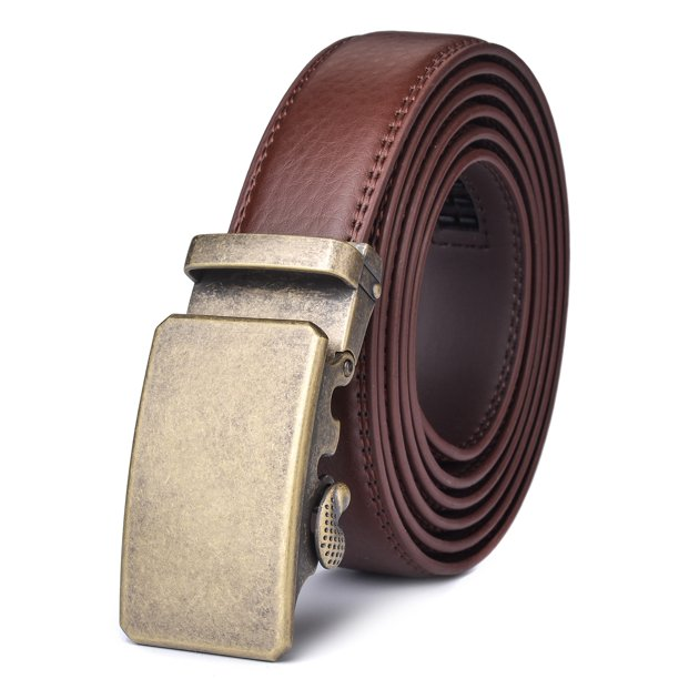 Xhtang Mens Genuine Leather Ratchet Dress Belt with Automatic Buckle
