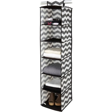Housecandie 6 Shelf Hanging Closet Organizer Chevron Faux
