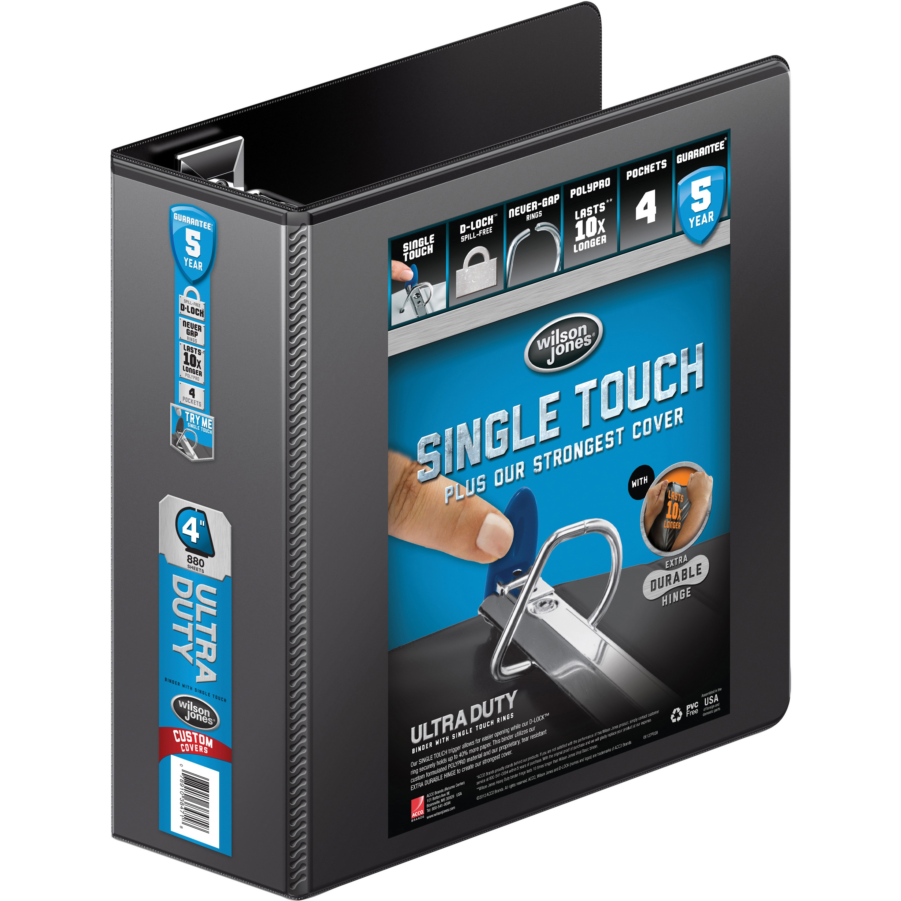 "Wilson Jones Ultra Duty D-Ring View Binder with Extra Durable Hinge, 4"", Black"