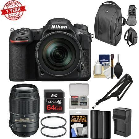 Nikon D500 Wi-Fi 4K Digital SLR Camera & 16-80mm VR Lens w/ 55-300mm VR Lens + 64GB Card + Backpack + Battery & Charger & More