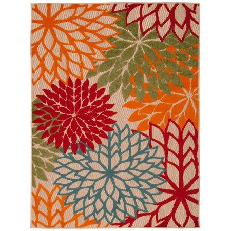 Nourison Aloha ALH05 Orange/Red/Green Flowers Indoor/Outdoor Area Rug - 53u0022 x 75u0022