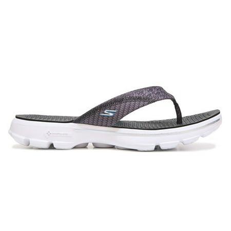 bf2142dd5 Skechers Women s GOwalk 3 Pizazz Thong Sandal Black White Size 7 M ...
