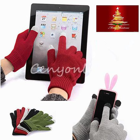 1 Pair Magic Unisex Men Women Winter Warm Windproof Anti-slip Thermal Capacitive Touch Screen Touchscreen Gloves Stretch Full Finger for iPhone X,8 Plus,8,7 Plus,7