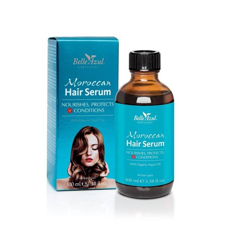 Belle Azul Moroccan Hair Serum - Repairing Anti-frizz Serum No Silicones, Sulfates or Parabens with Organic Argan Oil 100 ml/3.38 oz + Yes to Coconuts Moisturizing Single Use
