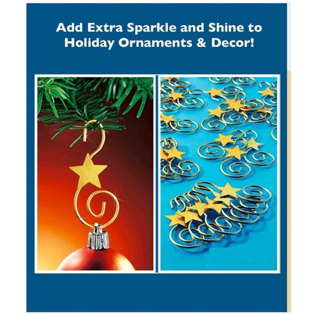 Decorative Holiday Star Ornament Hooks - Set of 24