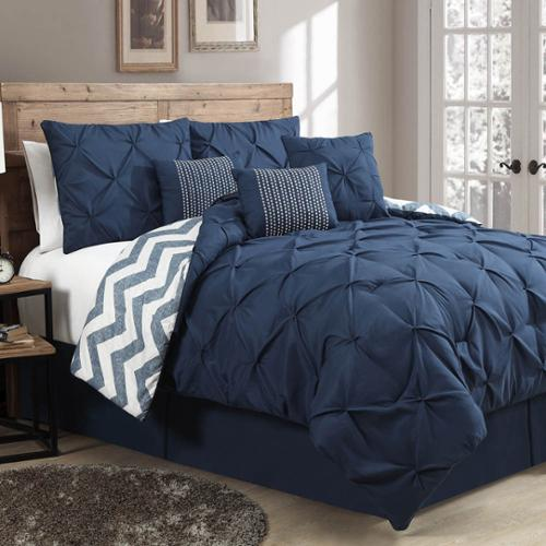 Avondale Manor Ella Pinch Pleat Reversible 7-piece Comforter Set Queen, Navy