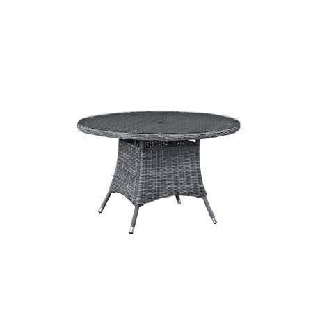 "Modway Summon 47"" Round Outdoor Patio Dining Table in Gray"