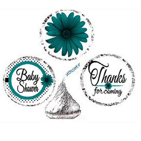 216ct Teal Baby Shower Party Favor Hersheys Kisses Candy Decoration Stickers / Labels