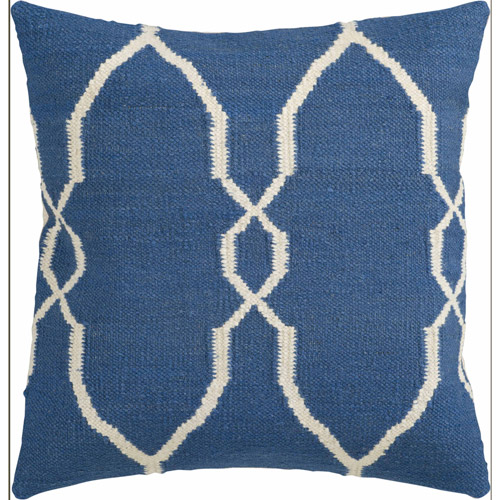 "Art of Knot Aveiro 22"" x 22"" Blue Hand Crafted Wool/Cotton Decorative Pillow with Poly Filler"